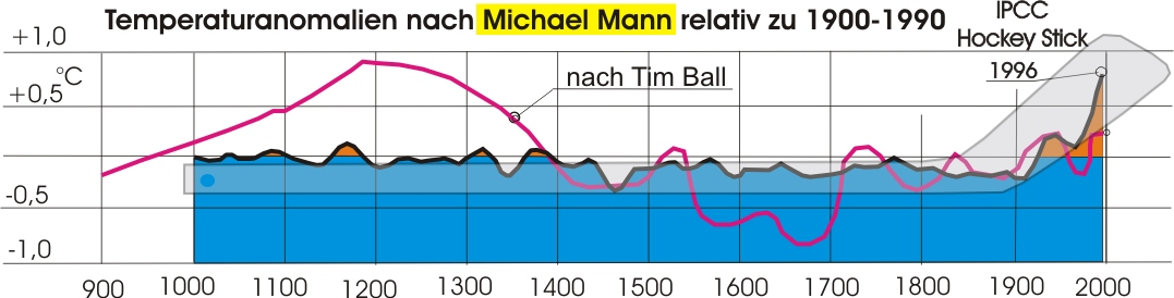 gefälschte Temperaturdaten im Hockey Stick von Michael Mann
